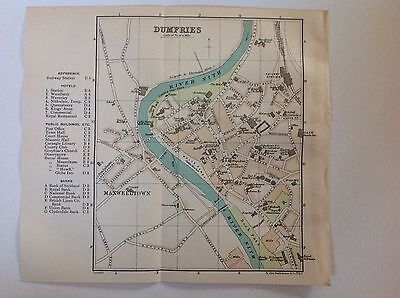 Scotland, Dumfries 1908 Antique Street Map, Bartholomew, Maxwelltown River Nith