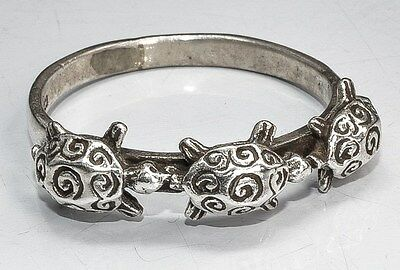 Sterling Silver Ethnic Asian Vintage Style Three Turtoises Ring Size U 1/2 Gift
