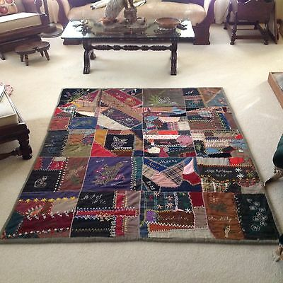 Fabulous Handstitched Memory Signature Quilt Dated 1892 Multicolor Clean