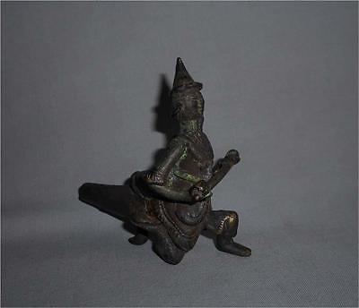 Antique Burma TOP HIGH AGED USED BRONZE SHAN TRIBAL FIGURAL PIPE HEAD