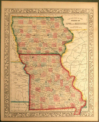 Mitchell's County Map of Iowa and Missouri 1860 Des Moines Boise St. Louis
