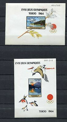 s12301) GUINEA GUINEE 1966 MNH** Pan Arab Games S/Sx2 overprinted IMPERFORATED