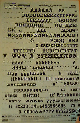 LETRASET Rub On Transfers ROCKWELL BOLD 36pt (9.5mm) #2975 used