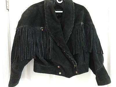 Vgt LEARSI® Western suede Black Leather Fringed 70's Hippy Jacket, Large Women