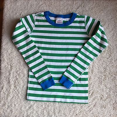 Hanna Andersson 150 Green White Blue Striped Pajamas Shirt
