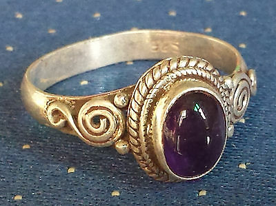 Traditional Sterling Silver Handcrafted Asian Amethyst Stone Ring Size Q Gift