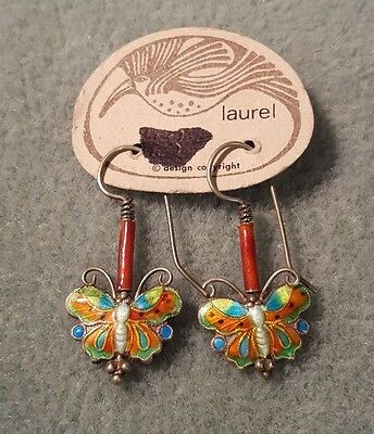 Early Laurel Burch~1970's~Enamel over Sterling Butterflies Great Condition~RARE!