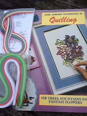 Jane Jenkins' Techniques in Quilling Fir Trees, Flowers, Wreath, + 2 Packs Paper