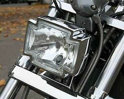 Headlight motorcycle, Gothic, chrome, clear, bottom fixing, iron cross