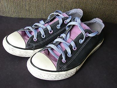 Converse All Star Black / purple Canvas Athletic Style Shoes Girls Youth Size 3