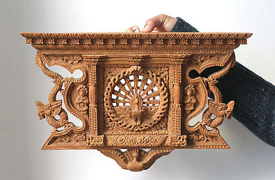 SUPERB old NEPAL architectural panel/window frame,very fine woodcarving, deities