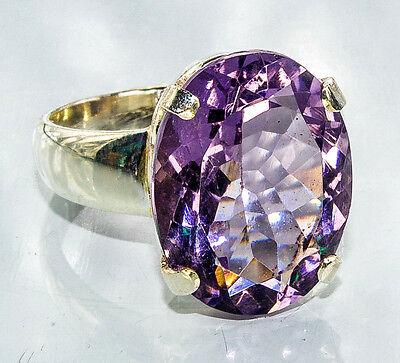 Sterling Silver Traditional Asian Vintage Style Amethyst Ring Size O 1/2 Gift