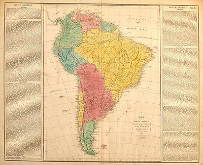 Map of South America by  E. Paguenaud 1821 copper engraving w/hand color antique