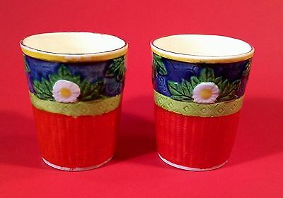 1930s Japanese Art Deco Earthenware Cups~Set of Two