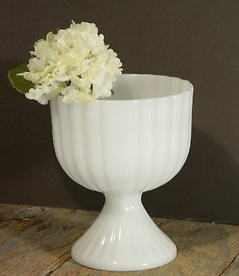Vtg/Milk Glass/Pedestal Bowl/Compote/Footed Planter/White/Ribbed/Cottage Chic