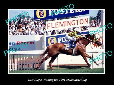 Large Historic Horse Racing Photo Of Lets Elope, 1991 Melbourne Cup Winner