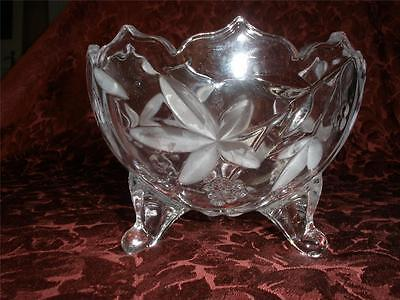 Stunning Footed Crystal Dish Frosted Flowers