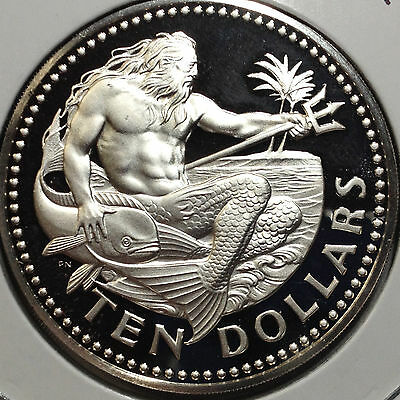 1973 Barbados Ten Dollars King Neptune Gem Proof Huge Silver Coin