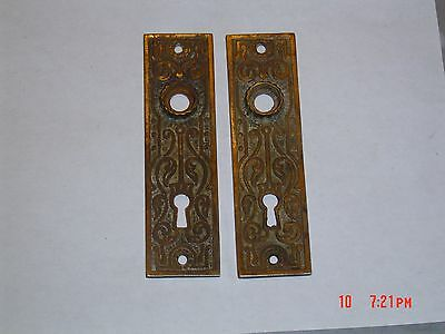 Pair Of Antique Eastlake Door Back Plates Old Patina Cast Iron