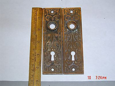 Pair Of Antique Eastlake Door Back Plates Old Patina Cast Iron &