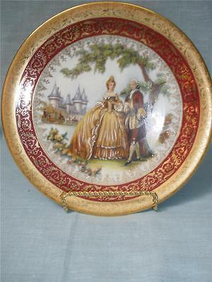 Fabulous Porcelain Collector Plate Limoges France Gold Trim With Stand