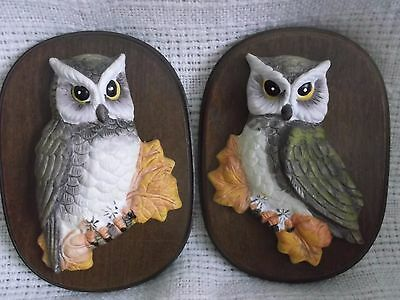 Pair of Wall Owl Art Placques