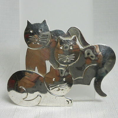Adorable TAXCO MEXICO Sterling Silver 925 Vintage Estate KITTY CAT Pin or Brooch