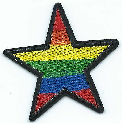 Rainbow Star Embroidered Patch Iron-on Gay Pride Flag Good Luck