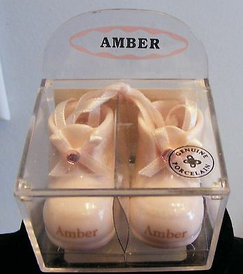 Adorable, Tiny, Baby Booties Figurine / Keepsake For A Little Girl Named AMBER