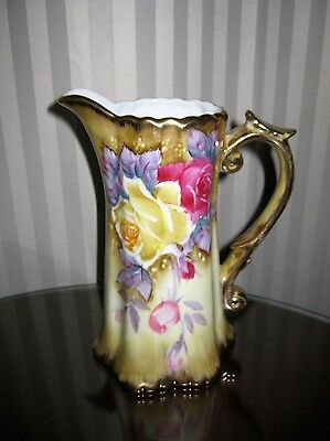 Stunning Nippon Jug With Beautiful Roses & Gold Gilt-About 7 Inches Tall