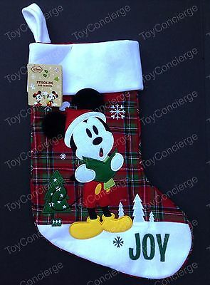 "DISNEY Store Holiday 2016 Stocking MICKEY MOUSE Plaid ""JOY"" Embroidered NWT"