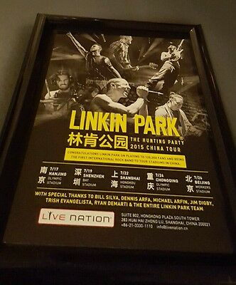 Linkin Park Rare Original The Hunting Party 2015 China Tour Promo Poster Framed!