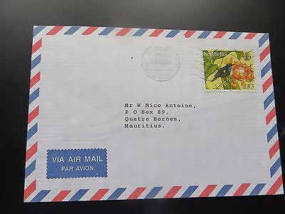 seychelles airmail cover to mauritius with sg 870 u sunbird