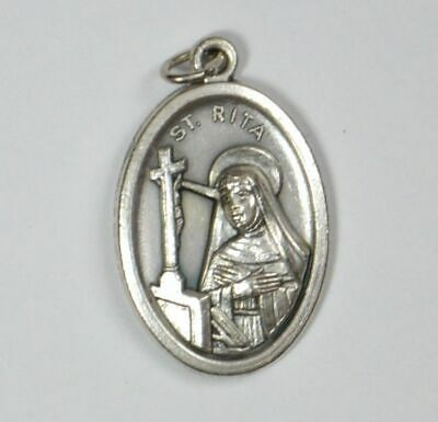 SAINT RITA Medal Pendant, SILVER TONE, 22mm X 15mm, MADE IN ITALY