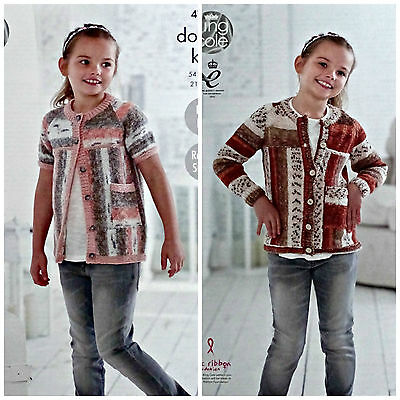 KNITTING PATTERN Girls Easy Knit Short & Long Sleeve Sideways Cardigan DK 4784
