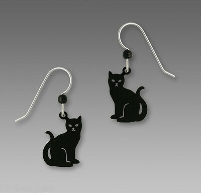 Sienna Sky BLACK CAT Earrings Feline STERLING Silver Kitty Dangle 1588 + Box