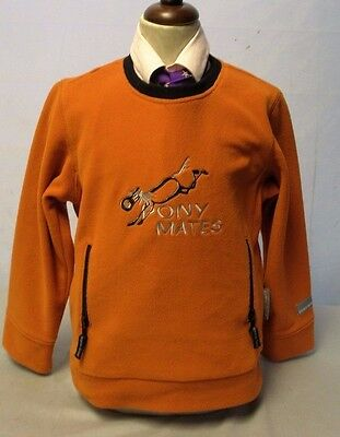 Pony Mates Fleece Jumper Orange/Black Age 6 With Lovely Pony Motif