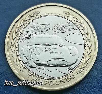 1997 Two Pounds £2 Isle Of Man Vintage Rally Cars Rare Coin