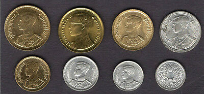 Early Coins of King Bhumibol Adulyadej and Rama VIII & IX Thailand 8 Coin Set a