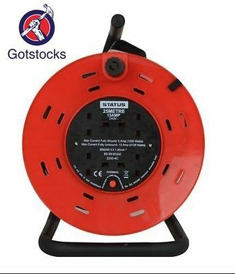 Heavy Duty 25M Mains Extension Cable Reel Freestanding 4 Socket Lead 13A 240V