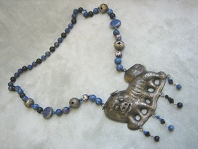 Antique Chinese Foo Dog Silver Pendant Necklace Cloisonne Beads Lapis Gorgeous!