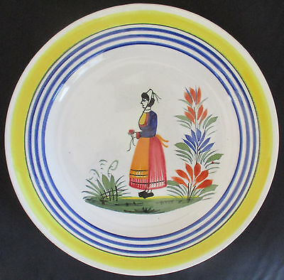 Henriot Quimper Breton Woman With Red Dress Dinner Plate