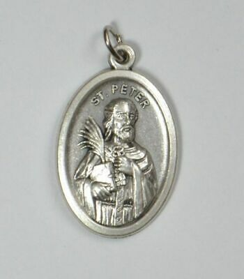 SAINT PETER Medal Pendant, SILVER TONE, 22mm X 15mm, MADE IN ITALY