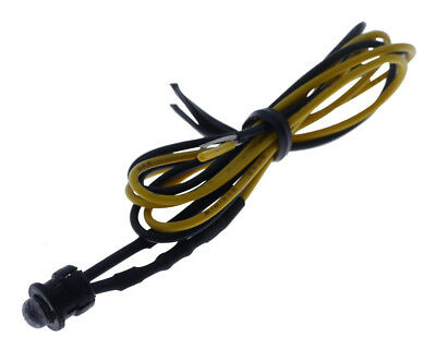 LED indicator light, 5 mm, yellow, with cable and mounting clip, for 12V DC.