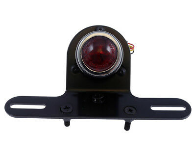 Taillight LED Motorcycle OLD SCHOOL TYPE4, black, red lens, license plate holder