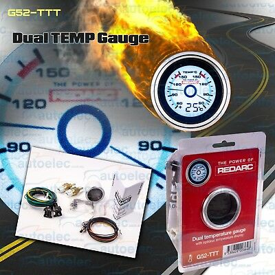 Redarc 52Mm Dual / Twin Oil Temperature & Third Temp Display Gauge G52Ttt
