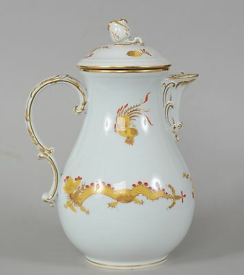 Meissen Gold Ming Dragon Coffee or Chocolate Pot Crossed Swords Mark