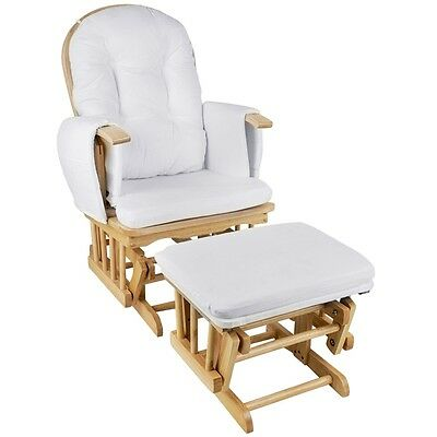 NEW Wooden Baby Breast Feeding Sliding Glider Rocking Chair Natural with Ottoman