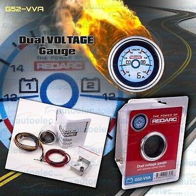 Redarc 52Mm Battery System Dual Volt Voltmeter & Current Monitor Gauge G52Vva