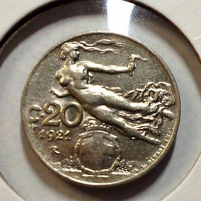 Italy 1921-R 20 Centesimi  Flying Victory High Grade Coin